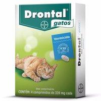 Vermífugo Drontal Gatos Até 4kg Com 4 Comprimidos 339mg Cada