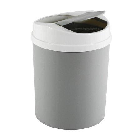 Lixeira 5 Litros Basculante Tampa Vai e Vem Cozinha Banheiro - Cinza Claro