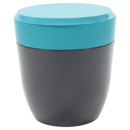 Lixeira Redonda 2,5L Compacta Para Pia Cozinha - Chumbo/Azul Turquesa