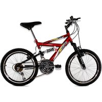 Bicicleta Aro 20 MTB 18V Full Suspension Max 220 - Vermelha