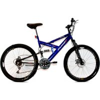 Bicicleta Aro 26 MTB 18V Full Suspention Duplo Freio a Disco Max 260 - Azul