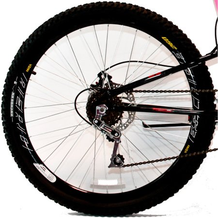 Bicicleta Aro 26 MTB 18V Full Suspention Duplo Freio a Disco Max 260 - Pink