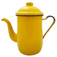 Bule Aço Esmaltado Para Café Chá 1,25 Litros Tradicional Amarelo