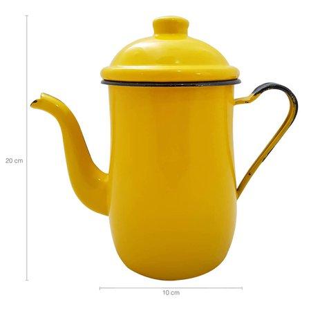 Kit Bule Café Chá Com 6 Xícaras Pires Açucareiro Aço Esmaltado Amarelo