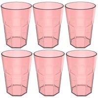 Conjunto 6 Copos Jogo De Copos Para Suco Água 400ml Acrílico Rosa Quartzo