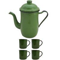 Bule Café Esmaltado 1,25 Litros e 4 Xícaras 70ml Tradicional - Verde Botânico