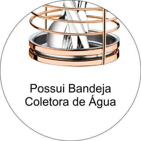 Suporte Escorredor Porta Talheres e Utensílios de Bancada Luxo - Rosé Gold
