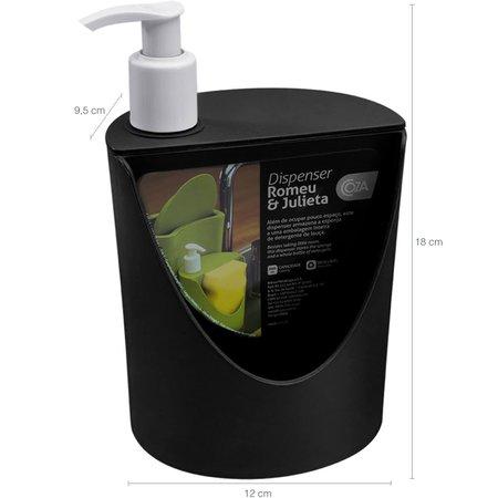 Escorredor Louças E Talheres Lixeira 2,5l Porta Detergente De Pia Preto
