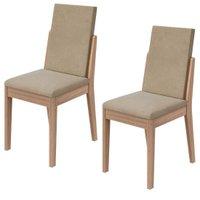 Conjunto com 2 Cadeiras Lira Lopas - Creme/Carvalho Naturale