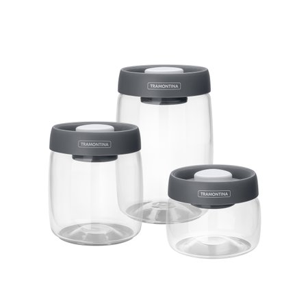 Jogo de Potes de Vidro Tramontina Purezza com Tampa Plástica a Vácuo 3 Peças