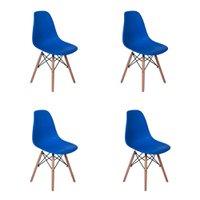 Conjunto 4 Cadeiras Charles Eames Eiffel Wood Base Madeira