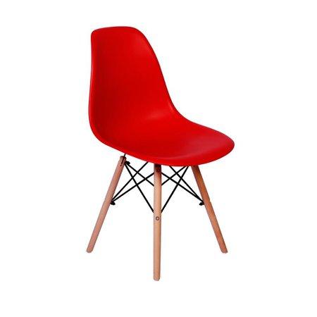 Cadeira Charles Eames Eiffel Dkr Wood - Design - Vermelha