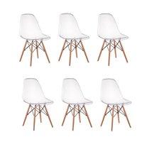 Kit 06 Cadeiras Charles Eames Eiffel Wood Policarbonato - Transparente
