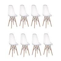 Kit 08 Cadeiras Charles Eames Eiffel Wood Policarbonato - Transparente