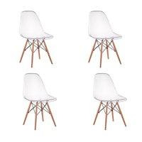 Kit 04 Cadeiras Charles Eames Eiffel Wood Policarbonato - Transparente