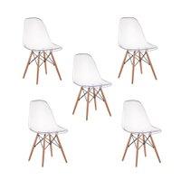Kit 05 Cadeiras Charles Eames Eiffel Wood Policarbonato - Transparente