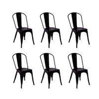 Conjunto 6 Cadeiras Tolix Iron - Design - Preta