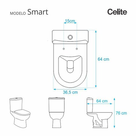 Assento Sanitario Smart Pergamon (Bege Claro) para vaso Celite