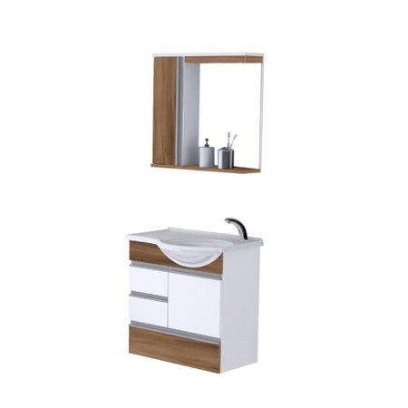 Kit Gabinete de Banheiro Florence 60 cm 2 Gavetas Rorato