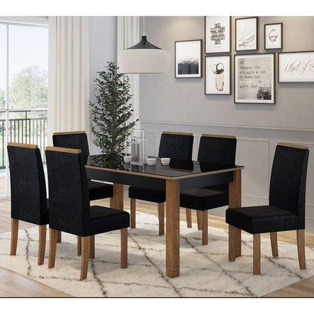 Mesa Sonetto com 6 Cadeiras Julia Tampo de Vidro