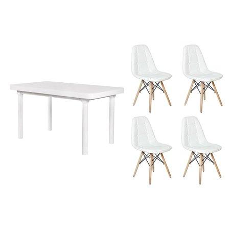 Mesa De Jantar França 110x80 Branca + 04 Cadeiras Charles Eames Botonê - Branca