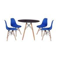 Mesa Jantar Eiffel 120cm Preta + 4 Cadeiras Charles Eames - Azul