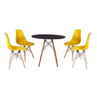Mesa Jantar Eiffel 90cm Preta + 4 Cadeiras Charles Eames - Amarela