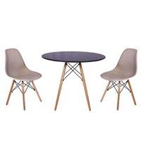 Mesa Jantar Eiffel 120cm Preta + 2 Cadeiras Charles Eames - Nude