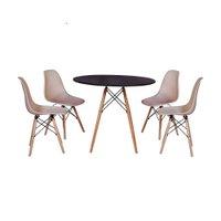 Mesa Jantar Eiffel 120cm Preta + 4 Cadeiras Charles Eames - Nude