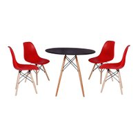 Mesa Jantar Eiffel 120cm Preta + 4 Cadeiras Charles Eames - Vermelha