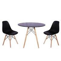 Mesa Jantar Eiffel 120cm Preta + 2 Cadeiras Charles Eames - Preta