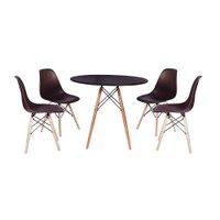 kit Mesa Jantar Eiffel 80cm Preta + 4 Cadeiras Charles Eames - Marrom