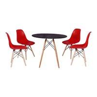 kit Mesa Jantar Eiffel 80cm Preta + 4 Cadeiras Charles Eames - Vermelha