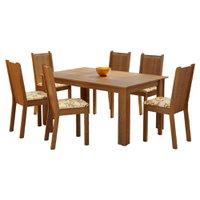 Conjunto Sala de Jantar Madesa Analu Mesa Tampo de Madeira com 6 Cadeiras - Rustic/Lírio Bege