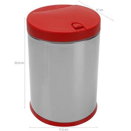 Lixeira Inox 4 L Lixeira para cozinha Brinox Balde Removível Vermelha
