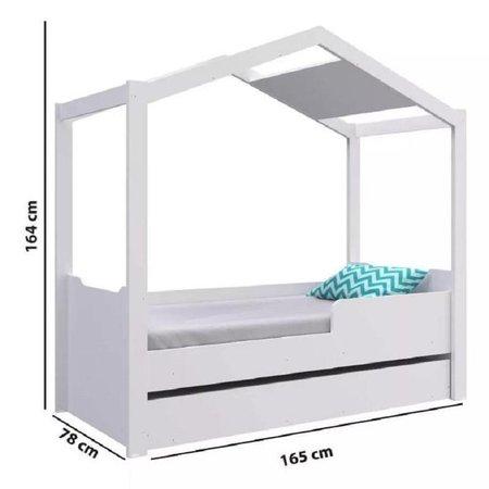 Mini Cama Montessoriana Com cama Auxiliar Branca BY740