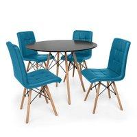 Kit Mesa Jantar Eiffel 120cm Preta + 04 Cadeiras Gomos