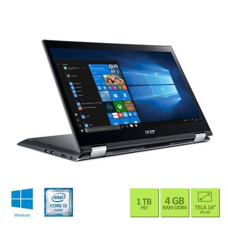 Notebook conversível Acer Spin 3 SP314-51 Intel Core i3 4GB HD 1TB Tela 14