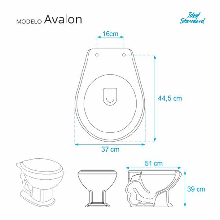Assento Sanitario Poliester com Amortecedor Avalon Preto para Vaso Ideal Standard