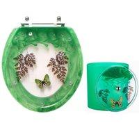 Tampa de Vaso e Lixeira Decorada Borboleta Verde Esmeralda