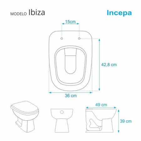 Assento Sanitario Poliester com Amortecedor Ibiza Cinza Ambar para Vaso Incepa
