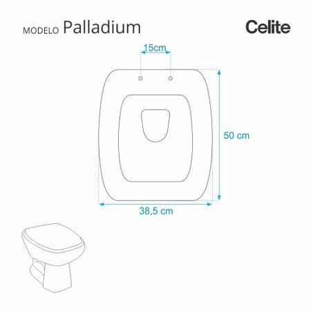 Assento Sanitario Poliester com Amortecedor Paladium Preto para Vaso Celite