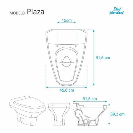 Assento Sanitario Poliester Plaza Premium Ebony para vaso Ideal Standard