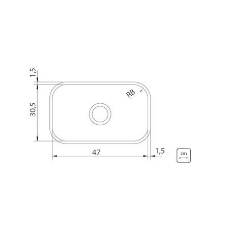 Cuba n.1 Tramontina 47 x 30 x 14 cm Lavínia 47 BL Standard em Aço Inox 430 Polido Com Válvula