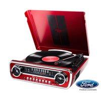 Toca-Disco Vinil Mustang ION c/ rádio, USB, Entrada Auxiliar e Conversão Digital  MUSTANGLP Vermelha