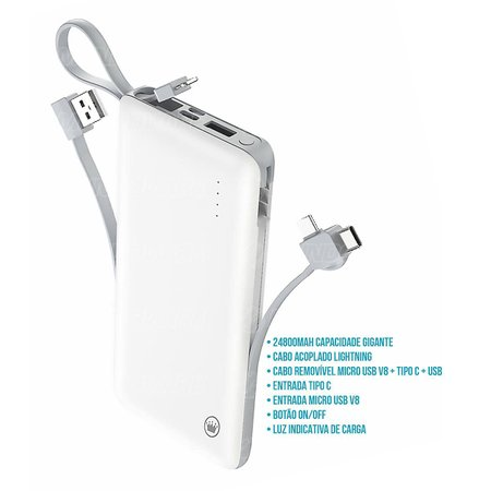 Power Bank Multi Portas 24800mAh Cabo Acoplado Lightning Cabo Removível MicroUSB + Type-C USB PN959