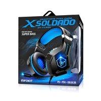 Fone Gamer para PS4 PC Celular Microfone Articulado LED 7 Cores Almofadas Extra Macia Headphone Azul