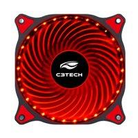 Cooler C3Tech para Gabinete F7-L130RD 3 Pinos 12Cm 30 Led