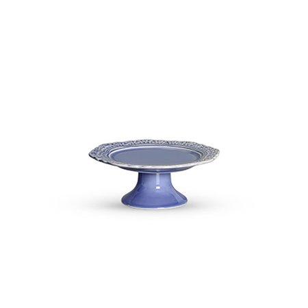 Porta Cake Cerâmica Romantic com Pé Scalla Azul Hortencia