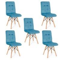 Conjunto 05 Cadeiras Eiffel Gomos Veludo Estofada Base Madeira - Turquesa